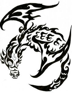 dragon-tribal-tattoo - Tattoo Thinks Dragon Tattoo Stencil, Black Dragon Tattoo, Tribal Dragon Tattoos, Dragon Tattoo For Women, Dragon Tattoo Designs, Tattoo Stencils, Tattoo Diy, Type Tattoo, Tattoo Ideas