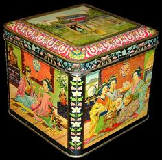 Dutch japonesque tea tin decorated with scenes of people at a Japanese teahouse, c. Vintage Canisters, Vintage Tins, Metal Containers, Tea Tins, Tea Strainer, Tin Boxes, Tea Accessories, Tea Ceremony, Drinking Tea