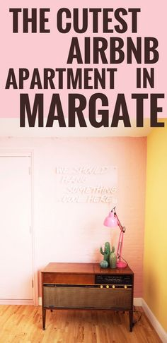where to stay in margate England airbnb pink airbnb flat apartment. kitsch home. Neon sign with 'we should hang something cool here' _ Colorful Interiors, Colorful Apartment, Apartment, Pink Houses, Interior Design Blog, Cosy Apartment, Flat Apartment, Pink Neon Sign, One Bedroom Apartment