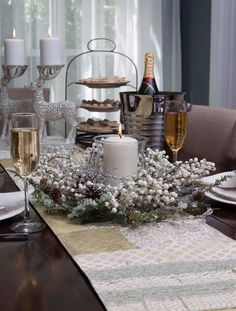 The White Berry And Pine Candle Ring gives a Christmas tablescape much enchantment.