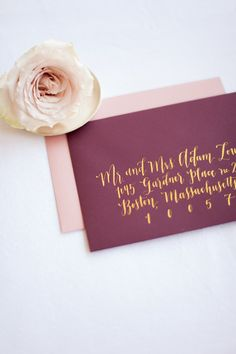 Gold Finetec calligraphy on marsala envelope by Prairie Letter Shop. Hand Lettering Envelopes, Calligraphy Envelope, Envelope Art, Addressing Envelopes, Wedding Calligraphy, Wedding Fonts, Calligraphy Fonts, Script Fonts, Caligraphy
