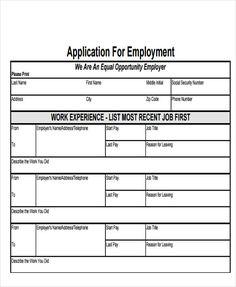 restaurant application form template