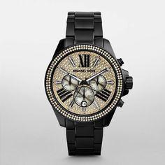 ba4375a67 ساعة مايكل كورس الأنيقة للسيدات ب650 درهم، مرصعة بالكريستال، ⌚كرونوغراف  مطلي باللون الأسود