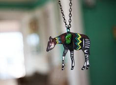 Okapi Necklace / African Animal  / Chevron by PeriwinkleNuthatch, $22.00