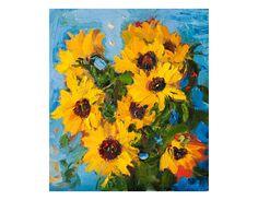 Sunflowers on Blue  Original Oil Painting Impasto Thick