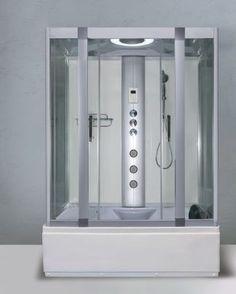 Alto W1 1350mm x 800mm Steam Shower Cabin and Whirlpool Bath - Polar White