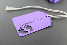 Purple Baby Shower Thank You Tags Set of 25 by ThePaperMedley