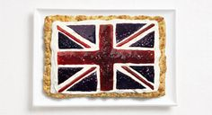 united kingdom flag made from food/Scone, cream, jams