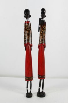 South Ndebele African Wood Figurines Tribal Neck Rings On Stand