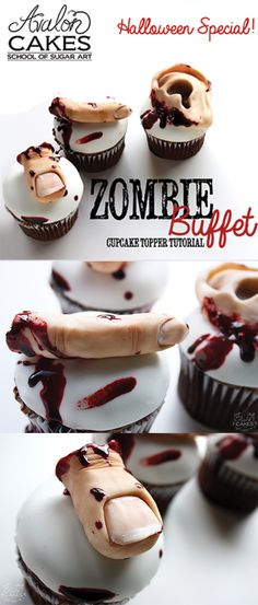 """Zombie Buffet Cupcake Toppers! Learn how to hand sculpt a finger, toe and ear out of modeling chocolate. How to color you sculpts to look realistic. How to create life-like """"movie"""" style edible blood. Perfect for Zombie themed parties and Halloween! Click through to see more."""