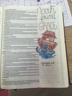 Gen 6:8. KJV. Bible journaling, Noah found grace ❤️❤️