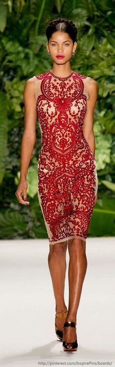 Gorgeous red lace Naeem Khan dress .