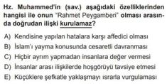 10. Sınıf Din Kültürü ve Ahlak Bilgisi Test 13 Kur'an'a Göre Hz. Muhammed – 4 - Test Çöz