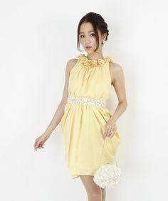 【Dress Stock】 結婚式 パーティー 二次会 お呼ばれ コーデ ドレス ワンピース ゲストドレス イエロー ドレスレンタル レンタル およばれ
