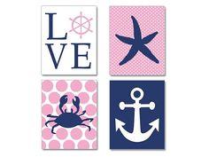 Pink Navy Nautical Nursery Bay Girl Nautical by NauticalDecorShop, $40.00