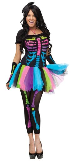 Womens Adult Neon Rainbow Skeleton Skelita Funky Punky Bones Tutu Dress Costume- Charlies costume