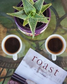 Two black coffees one #RoastMagazine. Here's to quiet Saturday mornings.  #StoutHeartDark #HamakuaCoffee #MorningGlory #Kaucoffee