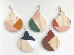Modern, handmade ornaments Wooden Christmas Ornaments, Handmade Ornaments, Modern Colors, Color Blocking, Drop Earrings, Holiday, Vacations, Holidays, Holidays Events