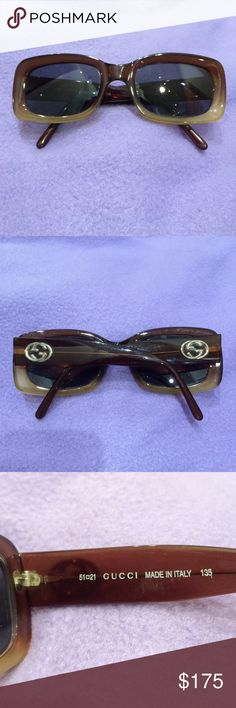 Gucci sunglasses These brown & gold Gucci sunglasses currently have prescription lenses in them, so the lenses will need to be replaced. Gucci Accessories Sunglasses