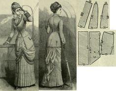 Mody Paryzkie 1879.: Traveling dress with short skirt and panier drapery.