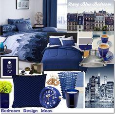 """Bedroom Design Ideas: Navy Blue Bedroom"" by elena-starling on Polyvore"