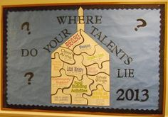 "The church building puzzle states ""Where do Your Talents Lie?"" (each piece has a work we are involved in) Bible Fun For Kids: Bulletin Board Ideas Bulletin Board Sayings, Religious Bulletin Boards, Christian Bulletin Boards, Class Bulletin Boards, Bullentin Boards, Catholic Schools Week, Sunday School Classroom, School Week, Bible Crafts"