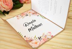 Lindo convite floral da Estudio Amora. Uma graça para casamentos rústicos. Adoramos!