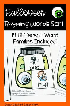Preschool and Kindergarten Halloween Rhyming Sort Center Word Family Activities, Halloween Activities For Kids, Rhyming Activities, Kindergarten Lesson Plans, Kindergarten Literacy, Teaching Phonics, Word Sorts, Rhyming Words, Word Families