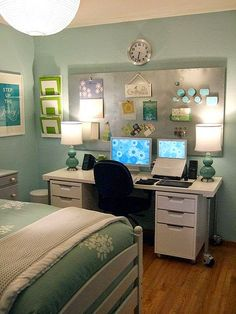 As your children get into their teen years, it becomes more and more necessary for them to have a space to do homework in. Giving them a board to pin notes, etc. to will help them keep organized (as well as providing a space for them to express themselves without going crazy over your walls!). Make sure you talk to them about internet safety if they have a computer in their room though!