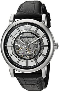 Emporio Armani Men's Stainless Steel and Leather Automatic Watch, Color:Black (Model: AR1981)