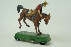 1906 Lehmann Wild West Bucking Broncho RARE Brown Version Tin Wind Up Toy German | eBay