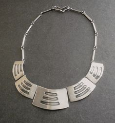 Sterling Modernist Layered Shied Necklace Handmade Vintage Studio