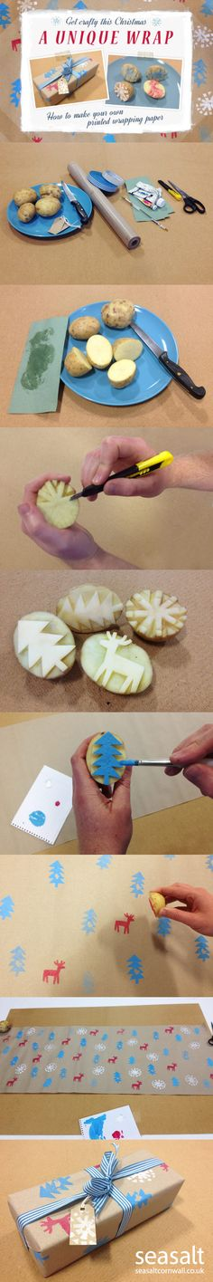 How to make your own potato print wrapping paper by Seasalt