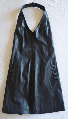 ~ ALEXANDER WANG BLACK LEATHER HALTER MINI DRESS  (DRESS IT UP OR DOWN) ~ 0…