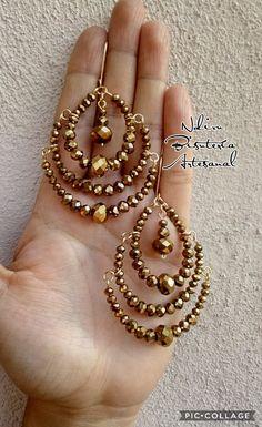 Hoop Earrings – Jewelry & Gifts - Famous Last Words Wire Wrapped Jewelry, Wire Jewelry, Jewelry Crafts, Jewelery, Handcrafted Jewelry, Earrings Handmade, Beaded Jewelry Patterns, Beads And Wire, Bead Earrings
