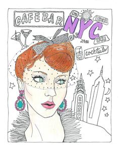 Adult Coloring Book Page Nightlife Glamor