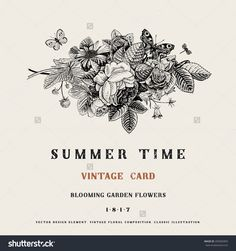 Summer Vector Vintage Card With Black And White Floral Bouquet Of Garden Roses, Strawberries, Bells. Illustration, Ink, Pen. - 205065859 : Shutterstock