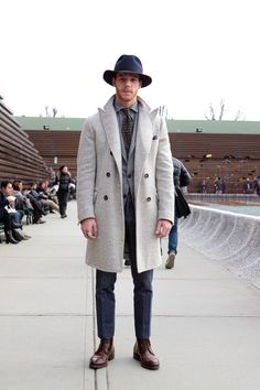 White Wool Coat, and 'Ranger' Hat @ Pitti Uomo. Men's Fall Winter Fashion.