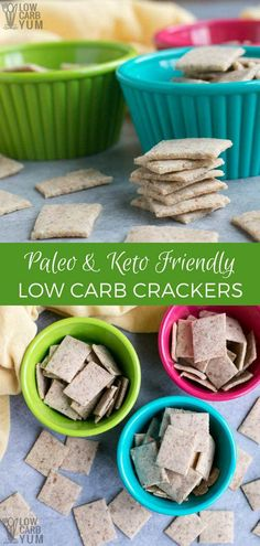 Best Keto Low Carb Crackers Recipe (Almond Flour, Paleo) A crisp cracker low in carbs that doesn't tastes very close to wheat flour ones? Only if it's the best keto low carb crackers recipe. Healthy Low Carb Recipes, Keto Recipes, Snack Recipes, Easy Recipes, Atkins Recipes, Ketogenic Recipes, Cheese Recipes, Low Carb Bread, Low Carb Keto