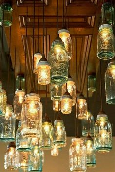 mason jar lights for over the seating/coffee area or over the smaller sales counter (even if there weren't lights in them it would still look great to hang)