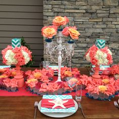 Coral and turquoise table created by  White Lotus Productions
