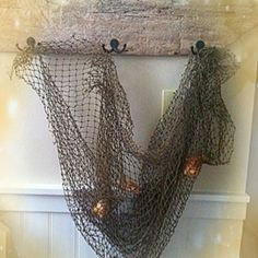 Beachy decorative owner made driftwood with hooks, fishnet and sea shells ~DIY
