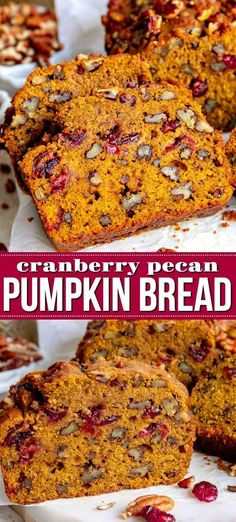 This extra delicious and supremely moist Cranberry Pecan Pumpkin Bread is bursting with fall flavors! So easy to make to and a guaranteed hit with friends and family this holiday season. This easy recipe is sure to become a new family favorite! Artisan Bread Recipes, Pecan Recipes, Bread Machine Recipes, Easy Bread Recipes, Baking Recipes, Fall Recipes, Pudding Recipes, Pumpkin Bread Recipe Bread Machine, Healthy Recipes