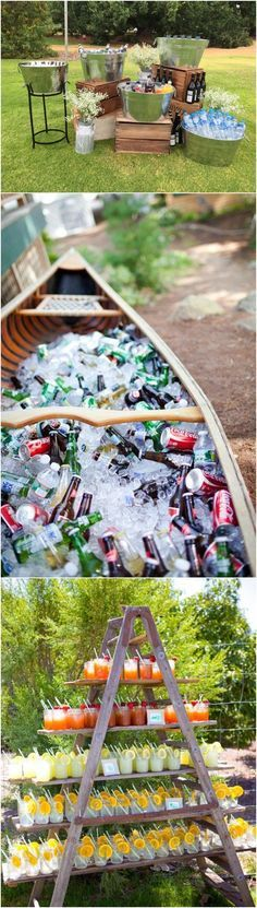 Unique Wedding Food Displays // canoe, ladder, tin buckets, rustic, outdoor wedding, cocktail hour