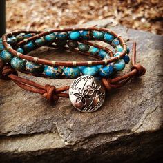 Aqua Terra Jasper and Natural Light Brown Leather by SolaceAngie