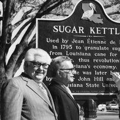Harnett T. Kane (r) at the dedication of the sugar kettle historical marker at Louisiana State University in Baton Rouge Louisiana in 1972 :: State Library of Louisiana Historic Photograph Collection