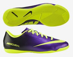 The Hi-Visibility Nike Mercurial Victory indoor soccer shoe features the  Electro Purple and Volt to make sure you will always be seen in a shoe  built for ... 19ee474ada2cc