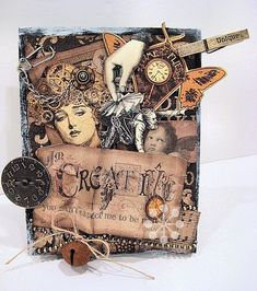 This is a stunning card made by Kristin Wilson using Steampunk Debutante and Kraft Reflections! It's hypnotically gorgeous - so many beautiful details! #graphic45