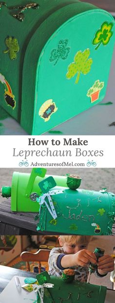 Start a fun St. Patrick's Day tradition, and decorate Leprechaun Boxes with your kids. It's a fun project that will inspire you and your kids to dig out the craft supplies and get crafting, for the leprechauns, of course! #StPatricksDay #leprechaun #crafts #kids