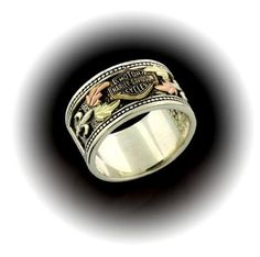 Harley DavidsonR Product From The MOD Jewelry Line Sterling Silver Mens Spinning Cracked Skull And Bar Shield Ring Design Features